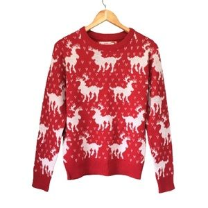 Ugly Christmas Sweater Red White Reindeer Pattern